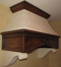 Smooth Panels Range Hood with wood faux finish of the lentil (i.e. main body) and canopy crown by a local artist. The canopy and corbels are in our GFRG ... & RWM-inc. Range Hoods - Noncombustible customizeable lightweight
